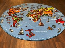 NEW WORLD MAP CHILDREN'S LEARNING CIRCLE 133X133CM MAT RUG SCHOOL MULTICOLOUR
